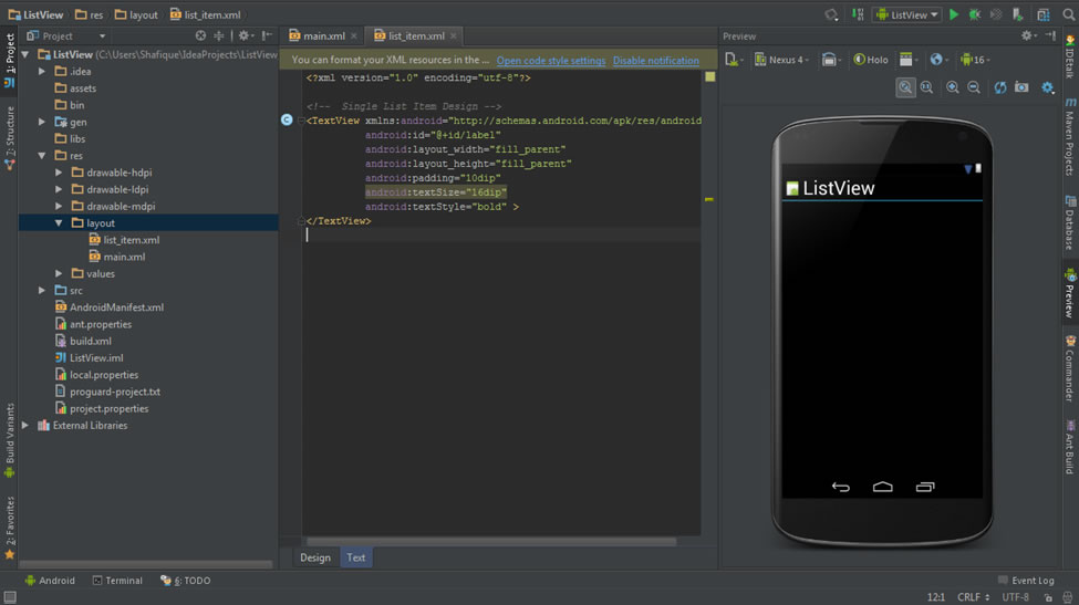 Android Development: creating and android listview app