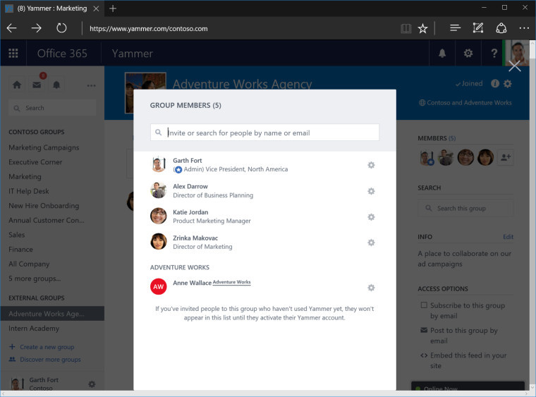 yammer external groups